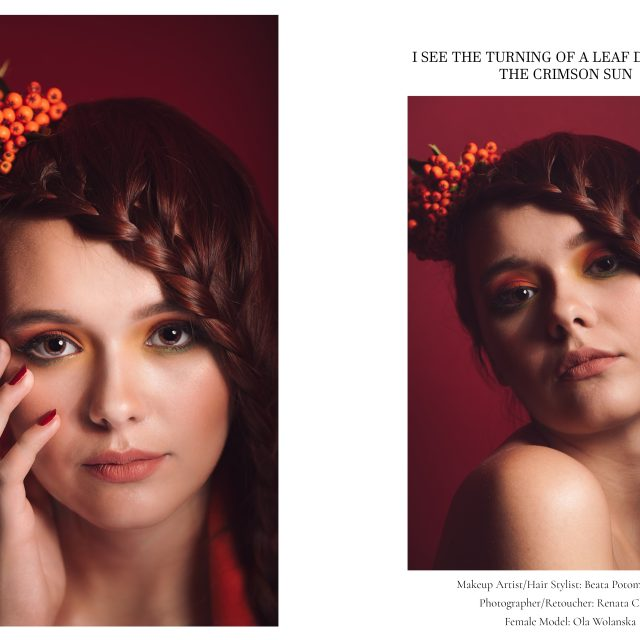 autumn leaf beauty editorial by Renata Clarke Photography