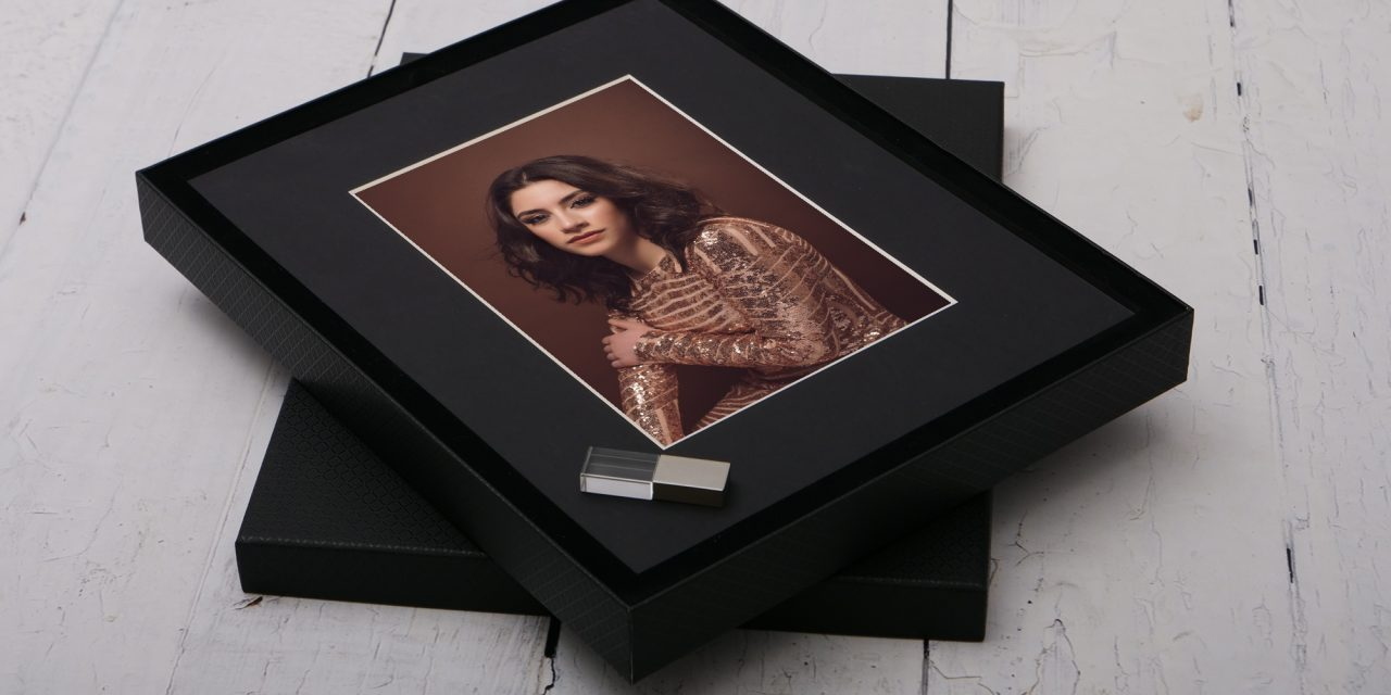 luxury folio box with matted prints by Worcester portrait photographer Renata Clarke Glamour and Boudoir Photography